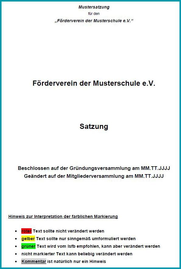 Niedlich Non Profit Satzung Vorlage Ideen - Entry Level Resume ...